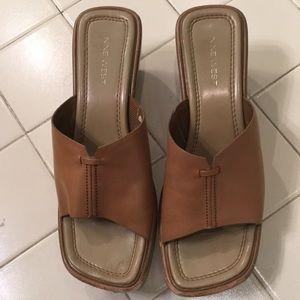 Nine West, 8 1/2 Caramel Colored Wedge Sandals